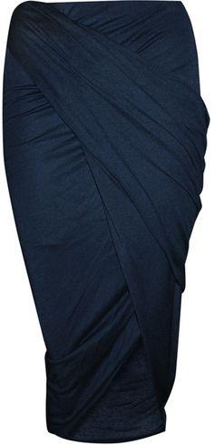 Helmut Lang Blue Slack Jersey Wrap Skirt