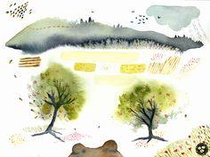 Watercolor Painting, Bees, Art Print, Paintings, Illustration, Modern, Trendy Tree, Paint, Painting Art