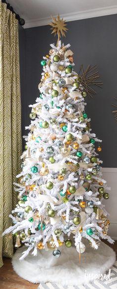Gold and Green Christmas Tree via inspiredbycharm.com #IBCholiday