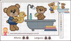 """Delicado Cantinho: Grafico Ponto Cruz """"Ursinhos + Filhinhos no Banho"""""""