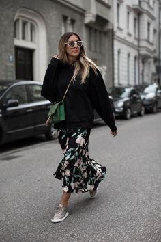 Black hoodie and floral skirt