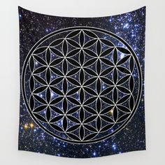 Flower Of Life In The Space Wall Hanging Tapestry by Azima - Small: x Energy Symbols, Blanket On Wall, Towel Rug, Society 6 Tapestry, Flower Of Life, Painting For Kids, Tapestry Wall Hanging, Outdoor Walls, Vivid Colors
