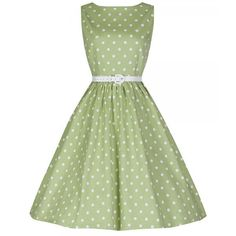 New Vintage Style Audrey Tarragon Green Polka Dot Swing Dress... ($65) ❤ liked on Polyvore featuring dresses, black, women's clothing, pin up dresses, black dress, polka dot dress, tent dress and black swing dress