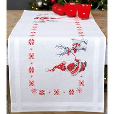 "Search: stamped cross stitch > 16""X40"" - Christmas Elves Table Runner Stamped Cross Stitch Kit: A Cherry On Top"