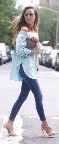 ライトブルーのオフショルトップスは爽やかガーリー! 人気のおすすめモテ系チュニックの一覧。トレンドコーデのまとめです♪