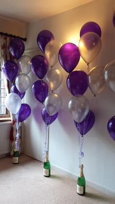 Purple and silver balloons from a Personalised Champagne bottle base  #balloons #Base #Bottle #Champagne #decoration #decorations #Personalised #purple #Silver