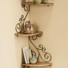 New Ideas For Stairs Metal Wood Ideas Corner Shelf Design, Corner Wall Shelves, Wood Shelves, Diy Wall Decor, Diy Home Decor, Tuscan Bathroom, Room Partition Designs, Wrought Iron Decor, Iron Shelf