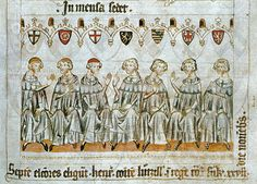 """""""The seven electors choose Henry, Count of Luxembourg, as King of the Romans at Frankfurt on the 27th day of November."""" The electoral princes are identified by the coat of arms above their heads, from left to right are the archbishops of Cologne, Mainz, and Trier, the count palatine of the Rhine (count of former Electorate of the Palatinate), the duke of Saxony, the margrave of Brandenburg, and the king of Bohemia. At this time Henry I, youngest son of John I, was the dominant Margrave."""