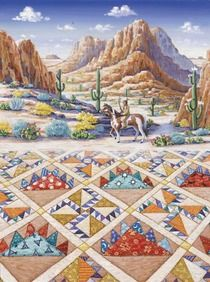Indian Trail  Beautiful quiltscape painting by Rebecca Barker on 5x7 note cards