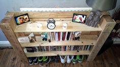 Reclaimed pallet multi-functional shelf unit