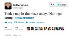 The Maze Runner tweet from Minho. I don't recommend you sleep in the maze...