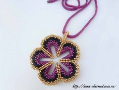 """Pendant """"Flower"""" from the beads. Discussion on LiveInternet - Russian Service Online Diaries"""