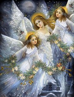 gif ange · The darkness purple Angel Images, Angel Pictures, Christmas Angels, Christmas Art, Vintage Christmas, Angel Protector, Angel Guidance, Angel Prayers, I Believe In Angels