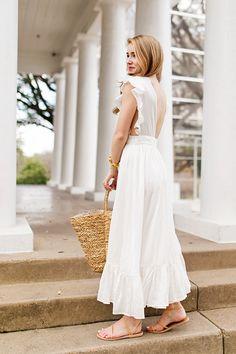 ruffled white maxi dress