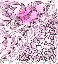 Tangles used: Zailz, Binda, Ennies, Zinger.  Zentangle drawn by Annemarie / Anne's tangle blog.