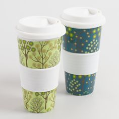 Spring Bliss Trees Non-Paper Cups, Set of 2: Blue/Green - Porcelain by World Market