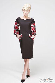 Cукня «Берегиня» з кишенями чорна - Varenyky FashionVarenyky Fashion