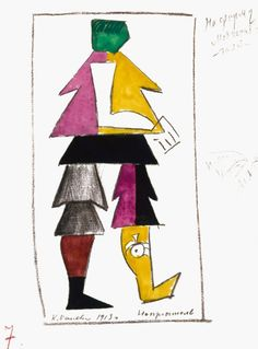 """Kazimir Malevich, costume design for a """"New Man"""", for the Futurist opera, 'Victory over the Sun', 1913."""