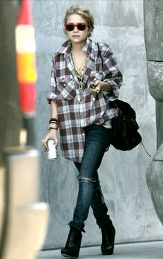 Big comfy shirt... Mary Kate Olsen