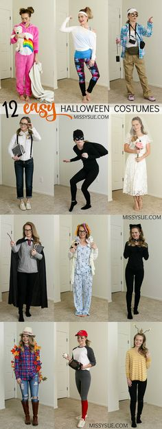 This year, I thought it'd be fun to share some last minute costume ideas so you don't have to worry about what to wear on Halloween. I've put together 12 super easy costumes from items I already owned or picked up at my local thrift/craft… Easy Last Minute Costumes, Easy Diy Costumes, Modest Halloween Costumes, Halloween Outfits, Diy Halloween Costumes For 12 Year Olds, Meme Costume, Plus Size Halloween, Cute Halloween, Halloween Ideas
