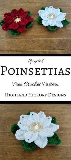 """Crochet the Upcycled Poinsettias using 1.5"""" plastic rings found on gallon-sized jugs! This free and easy pattern is great for Christmas decorating or gifts."""
