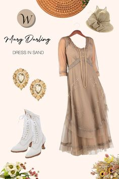 With a scoop-neck bodice plunging down to soft, dreamy layers of tulle, the Mary Darling Dress in Sand by Nataya is a great choice for social events of all types. Showing the elegant simplicity of another era, it's everything that you could want in a 1920s dress.