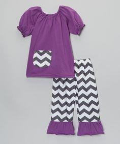 Take a look at this Purple & White Chevron Top & Capri Pants - Toddler & Girls today!
