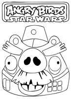 Angry Birds Star Wars coloring pages printable for kids -  look here for more birds #1 Empire bad pig