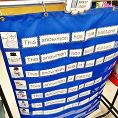 """This great little freebie combines sentence structure and sight word practice for a fun and easy pocket chart center activity. Students simply use the 7 pictures to help them unscramble the 7 mixed-up sentences. Each sentence begins with """"This snowman.""""   Extension worksheet included (both in colour and black & white)."""
