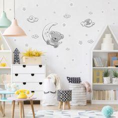 Nálepky na stenu - hviezdičky a oblaky | INSPIO Kidsroom, Kids Rugs, Wall, Home Decor, Houses, Bedroom Kids, Decoration Home, Kid Friendly Rugs, Room Decor