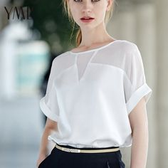 White Sheer Insert Roll-up Sleeve Chiffon Blouse Latest Street Fashion, Latest Fashion For Women, Womens Fashion, High Fashion, Blouse Styles, Blouse Designs, Roll Up Sleeves, Short Sleeves, Look Chic