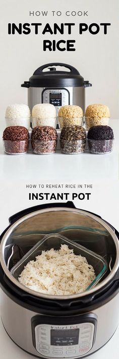 Here is your fail-proof guide for Instant Pot Rice. Need to know how to make rice in the pressure cooker? I cover: Basmati white rice, Basmati brown rice, short grain brown rice, wild rice blend, black rice, wild rice, red rice and sushi rice. Phew! #instantpot via @greenhealthycoo