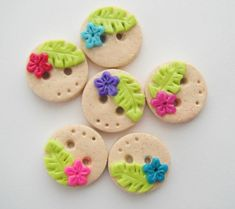 Button Tropical Beach Flowers handmade polymer clay buttons