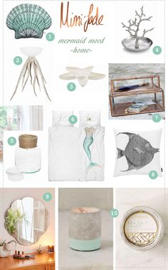 Nautical ideas for the home. Mermaid room ideas. Sea and ocean inspired accessories. Cool, calm, serene. Fish, coral, starfish and shells. Little mermaid inspired room ideas.