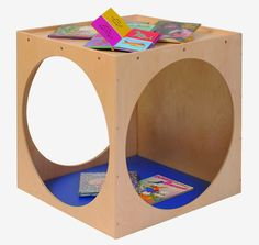 Steffy Wood Products Play Cube and Reading Nook. Play cube is constructed of thick all birch veneer panels. Cube has a storage well on top and diameter cutouts in side panels. Cubes, Play Cube, Classroom Furniture, Kids Furniture, Library Furniture, Furniture Decor, Veneer Panels, Home Learning, Learning Spaces