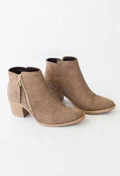Carrie Bootie - Carrie Bootie - Perfect taupe booties for fall.
