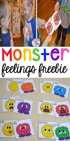 FREE Monster Feeling Cards & Games for preschool pre-k & kindergarten - <img> FREE feeling cards! Monster feelings game for preschool, pre-k, and kindergarten. Social Emotional Activities, Emotions Activities, Pre K Activities, Infant Activities, Learning Activities, Teaching Emotions, Educational Games For Preschoolers, Social Games, Feelings Preschool