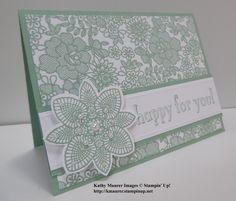 Stampin' Up!'s Something Lacy Stamp Set, Petal Potpourri Stamp Set, and Bravo Stamp Sets combine to make this greeting card. For details go to my Monday, June 1, 2015, blog at http://kmaurer.stampinup.net