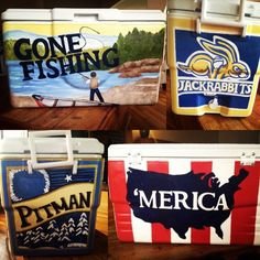 'merica, gone fishing Fraternity Coolers, Frat Coolers, Formal Cooler Ideas, Cooler Connection, Greek Crafts, Coolest Cooler, Cooler Designs, Cooler Painting, Sorority Crafts