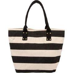 Women's Canvas Stripe Tote Beach Bag #FadedGlory #TotesShoppers