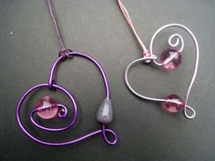 Heart, and bead wire wrap.