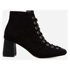Black 39 Chunky Heel Squared Toe Boots (1,525 INR) ❤ liked on Polyvore featuring shoes, boots, black chunky heel boots, black thick heel shoes, square toe shoes, chunky heel shoes and black shoes