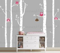 "This is the best selling Woodland Birch Tree Decal set on all of Etsy! The set brings nature in with 5 Trees, 4 Owls, a Birdhouse, custom colors and easy application. Other sellers have tried to copy this item, please support the original artists: In An Instant Art. { APPROX. SIZES } Birch Trunks are 101"" or 108 tall x 5-9"" wide The trees can be trimmed for walls that are shorter during application. For taller trees, please message us for pricing. Owls are 6-7"" tall / Birdhouse is 12""..."
