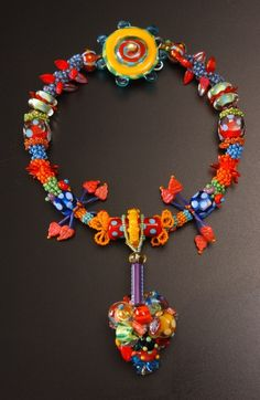 Necklace | Eleanore Macnish. 'Anniversary'. Lampworked glass beads, sterling silver, seed beads.