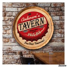 Shop for personalized Beer barrel top sign. This visual artwork is made from authentic wine barrel and perfect man cave decor. Pub Signs, Wall Signs, Beer Signs, Man Cave Wall Decor, Making Signs On Wood, Free Beer, Wine Collection, Top, Vestidos
