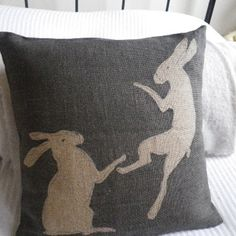 Items similar to hand printed tumbling hares cushion cover on Etsy Rabbit Art, Sewing Appliques, Wool Applique, Textiles, Rug Hooking, Applique Designs, Soft Furnishings, Cushion Covers, Sewing Projects