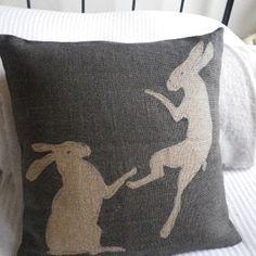 hand printed rustic boxing hares cushion - Folksy