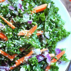 Super-Healthy Kale Salad with Creamy Ginger Tahini Dressing; putting my #soom foods tahina to work