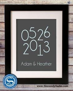 Special Date 8x10 Print  Wedding Date