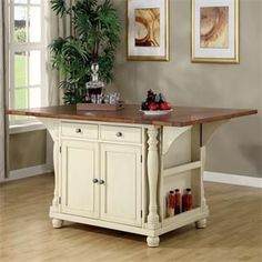 Check out the Coaster Furniture 102271 Two Tone Island Kitchen Table with Leaves priced at $896.99 at Homeclick.com.